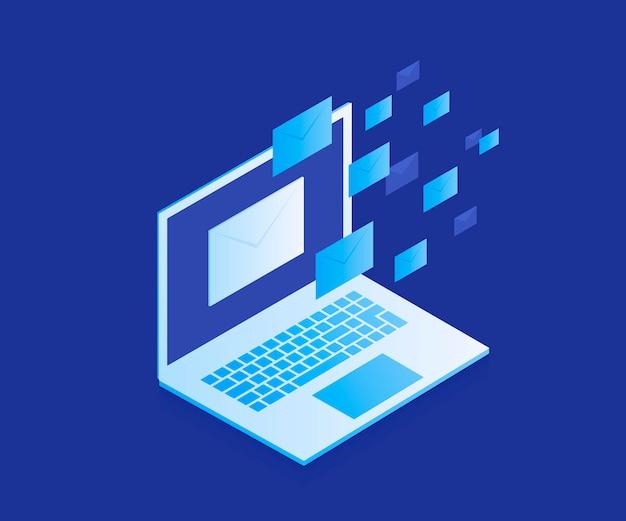 Konzept website banner für e-mail-schutz, anti-malware-software. e-mail-spam-angriff. antivirus-software, internet-sicherheit. moderne illustration im isometrischen stil