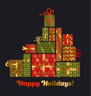 Konzept weihnachtsstil geschenkbox pyramide. verschiedene weihnachtsmänner im flachen stil.