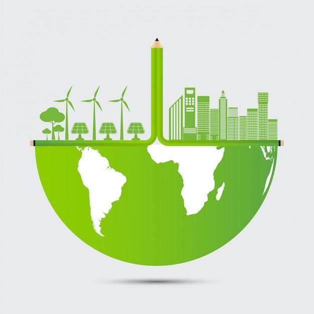 Konzept-weltumwelt- und -erdesymbol mit grünen blättern um städte