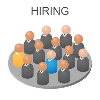 Konzept wir stellen sie ein. isometrische abstrakte personengruppe. geschäftsleute und arbeiter jobs. hilfe für arbeitslose. isoliert auf weißem hintergrund. vektor-illustration.