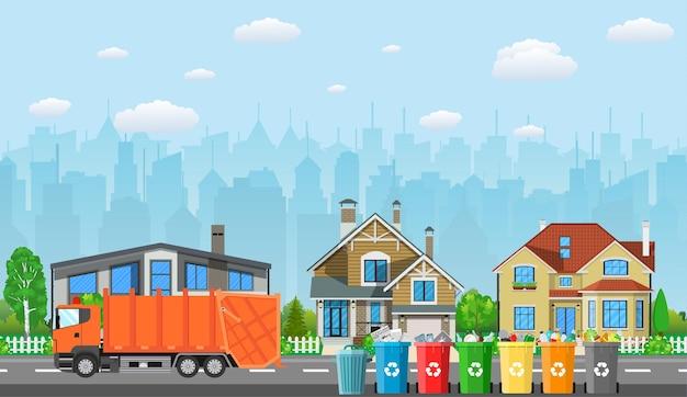 Konzept zum recycling von stadtabfällen