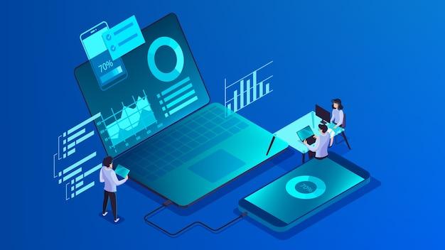 Konzept zur entwicklung mobiler apps. moderne technologie illsutration