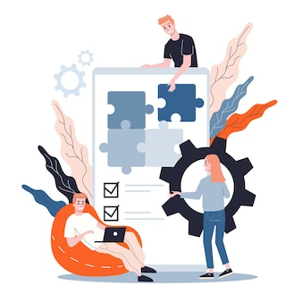 Konzept zur entwicklung mobiler apps. moderne technologie und smartphone-oberfläche. anwendungserstellung und programmierung. illustration