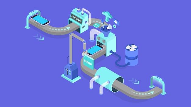 Konzept zur entwicklung mobiler apps. moderne technologie und smartphone