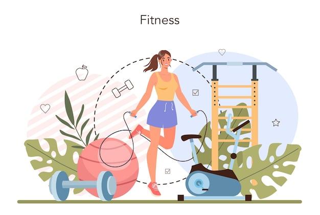 Konzept zur gewichtsabnahme. idee von fitness und gesunder ernährung. übergewichtige person wird mit fitness und ausgewogener ernährung dünn. schlankheitsmethode. flache vektorillustration