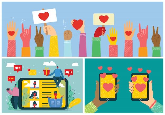 Konzept zur online-dating-anwendung in flachem design. männliche und weibliche hände halten handys mit abstraktem dating-app-profil auf anzeige.