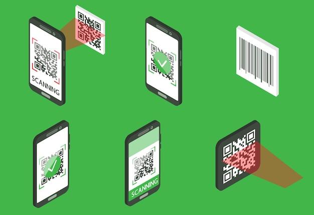 Konzept zur überprüfung des qr-codes. maschinenlesbarer barcode auf dem smartphone-bildschirm. der prozess des scannens von qr und barcode. set isometrischer objekte. vektorillustration lokalisiert auf grünem hintergrund