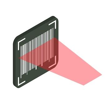 Konzept zur überprüfung von barcodes. maschinenlesbarer strichcode. der vorgang des scannens mit einem laser. isometrische illustration des vektors lokalisiert auf weißem hintergrund