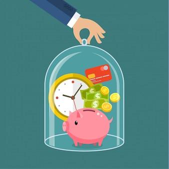 Konzept zur zeit- und geldersparnis, vertrauenswürdige geschäfts- und finanzdienstleistungen. flache illustration