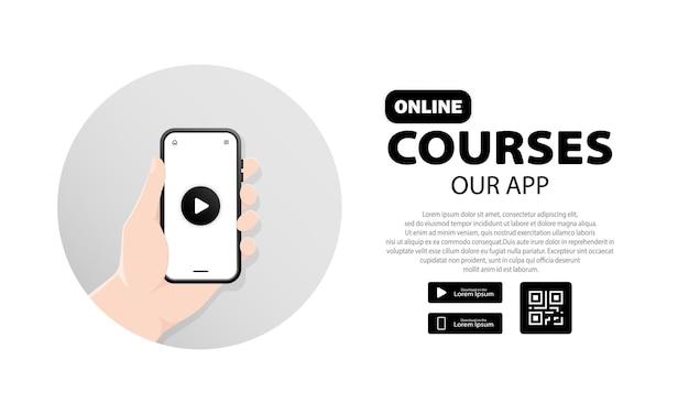 Konzeptausbildung für online-kurse für die site und die mobile site