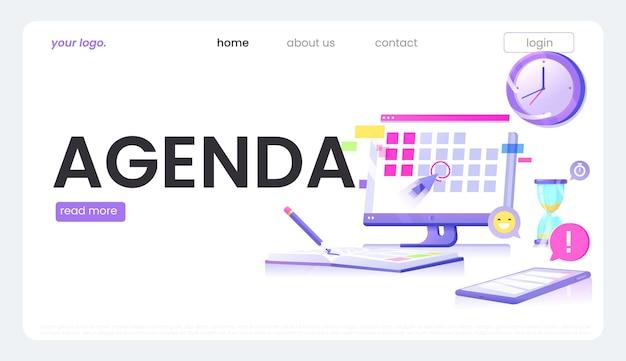 Konzeptbanner der agenda-website. der monitorbildschirm mit kalender und tagesnotizbuch mit bleistift und telefon mit anwendung. flaches design der vektorillustration.