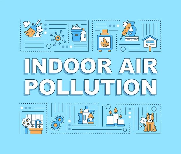 Konzeptbanner für die luftverschmutzung in innenräumen. naturprobleme wegen menschenverschwendung