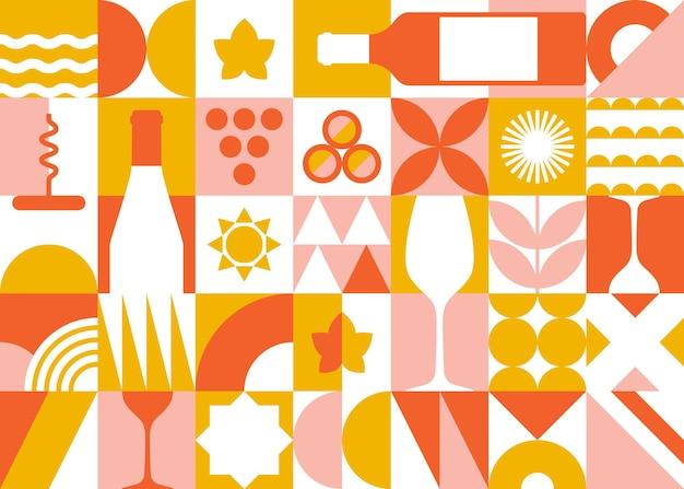 Konzeptbanner im geometrischen stil mit weinelementen