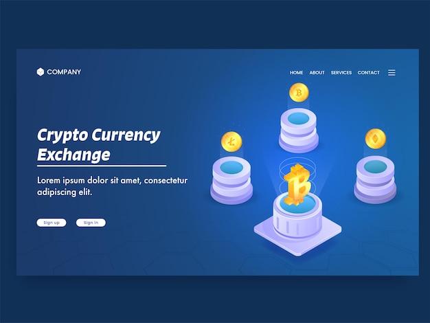 Konzeptbasierte landing page für kryptowährungsumtausch