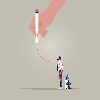 Konzeptbild der großen hand, die eine rote linie um einen mann zeichnet, der einschränkung darstellt Premium Vektoren