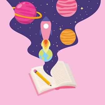 Konzeptbuchuniversum mit planetenkarikatur. vektor-illustration