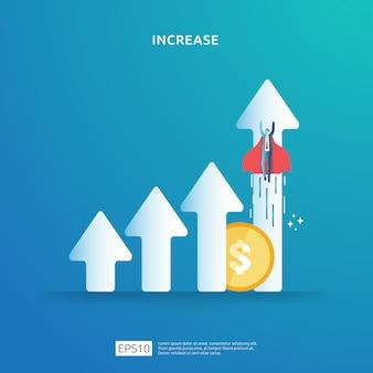 Konzeptdarstellung zur erhöhung der einkommenslohnrate mit personencharakter und pfeil. finanzierungsperformance des return on investment roi. geschäftsgewinnwachstum, verkauf steigern margenumsatz mit dollarsymbol