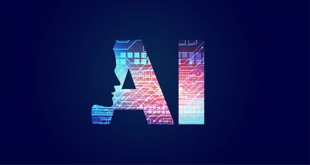 Konzeptdesign der künstlichen intelligenz mit gesicht