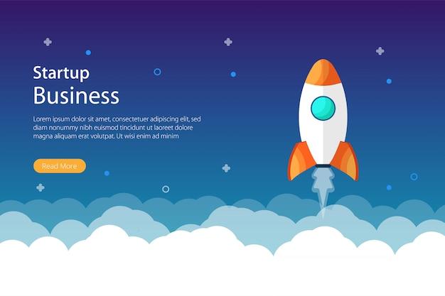 Konzeptdesign für unternehmensgründungen mit raketen- und weltraumsymbol. moderne flache website-seite für website und handy. vektorschablonenillustration
