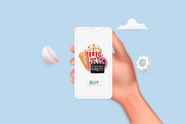 Konzepte der online-kinokartenbestellung hand, die mobiles smartphone mit online-kauf-app 3d hält