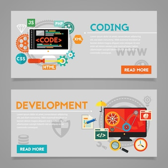 Konzepte für entwicklung und codierung, skripterstellung und website-entwicklung. horizontale banner