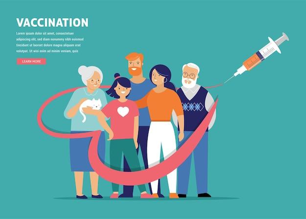 Konzeptentwurf für familienimpfungen. zeit, banner zu impfen - spritze mit impfstoff gegen covid-19, grippe