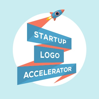 Konzeptentwurf für start-up-projekt mit aufschrift startup logo accelerator