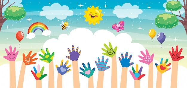 Konzeptentwurf mit gemalten händen der kleinen kinder