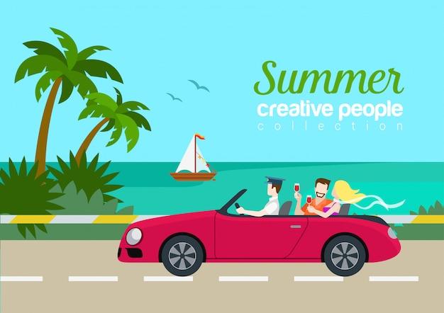 Konzeptferienvektor-postkartenschablone sommerreisepaare cabrio autos flache. schönheitsmanngetränkweinrücksitz, der küsteninsel-straßenyacht fährt.