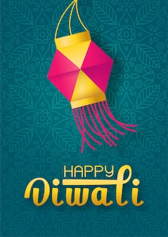Konzeptfestival diwali mit papierlaterne und beschriftet glückliches diwali auf grünem indischem hintergrund