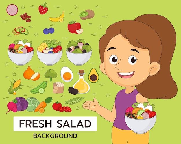 Konzepthintergrund des frischen salats. flache symbole.