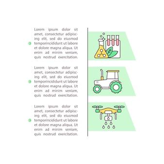 Konzeptikone für agrichemikalien und landmaschinen mit text. pestizid, dünger.