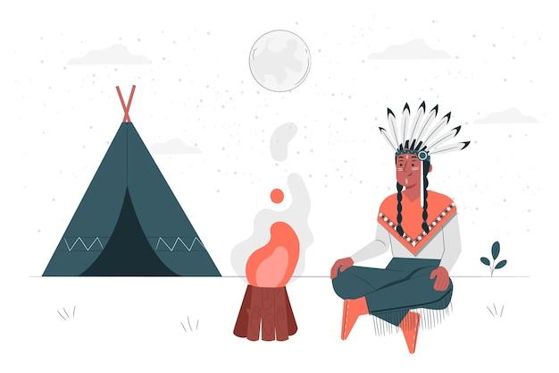 Konzeptillustration der amerikanischen ureinwohner