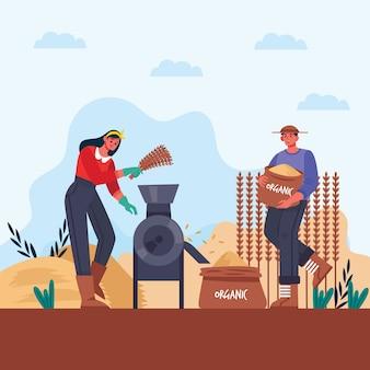 Konzeptillustration der biologischen landwirtschaft des mannes und der frau