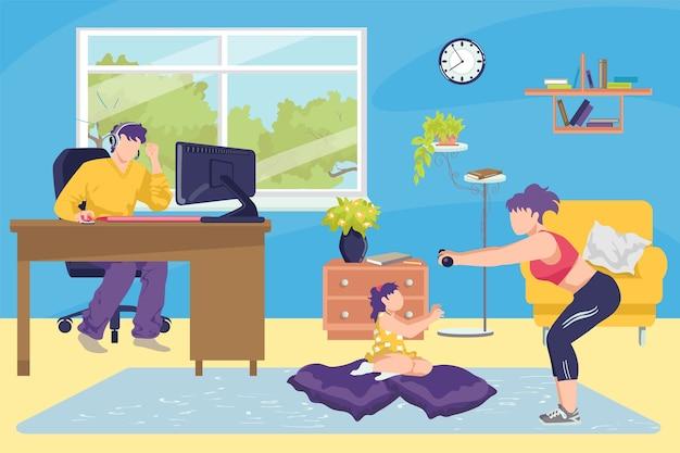 Konzeptillustration der familie zu hause zusammen