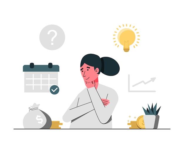 Konzeptillustration des denkens stellen junge frauen für investition dar