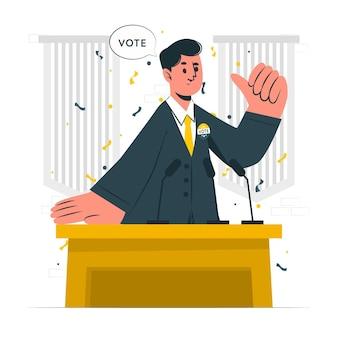 Konzeptillustration des politischen kandidaten