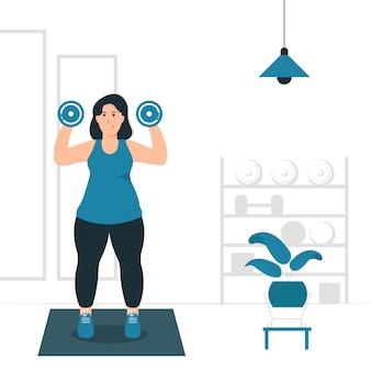 Konzeptillustration einer fetten frau, eines mädchens, das übung, training und fitness tut. gefüllter stil flach. .