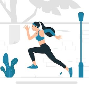 Konzeptillustration einer frau, die läuft, joggt, übung, cardio.