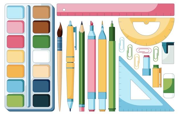 Konzeptillustration eines cartoon-schulbedarfssatzes von pinseln, markern, bleistiften und anderen