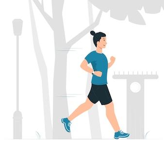 Konzeptillustration eines mannes, der läuft, joggt, übung, cardio.