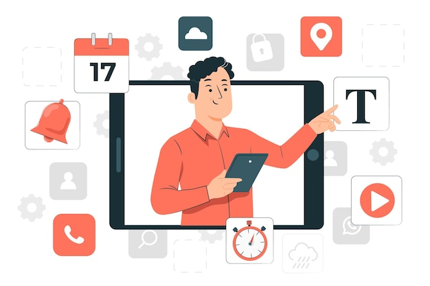 Konzeptillustration für digitale werkzeuge