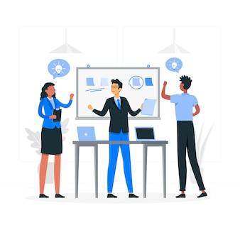Konzeptillustration für standup-meetings