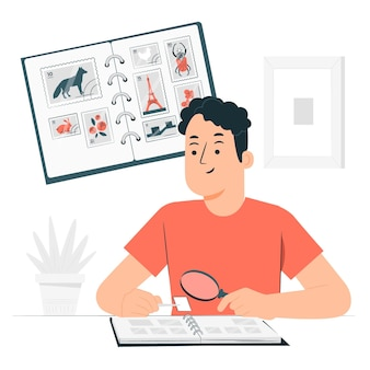 Konzeptillustration zum sammeln von briefmarken