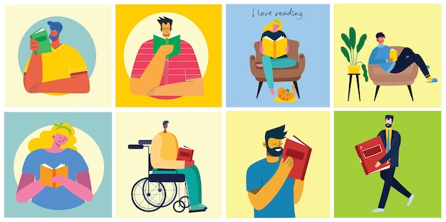 Konzeptillustrationen zum welttag des buches, zum lesen der bücher und zum buchfestival im flachen stil