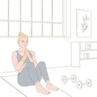 Konzeptillustrationsgrafikdesign der frau, die übung, training und fitness tut.