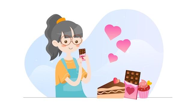 Konzeptillustrationskind, das schokoladen-valentinsgrußschablone isst