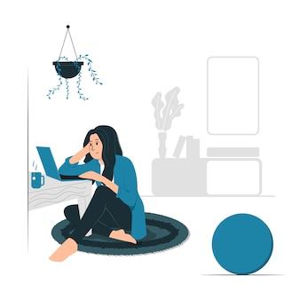 Konzeptillustrationsvektorgrafikdesign einer frau, die arbeit von zu hause aus tut.