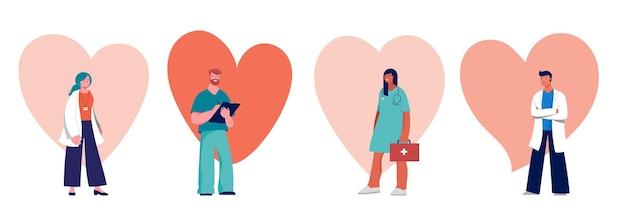 Konzeption von ärzten und krankenschwestern - gruppe von medizinern. vektorillustration