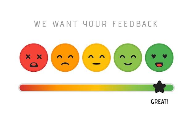 Konzeption von kundenzufriedenheitskonzepten. wir möchten ihr feedback-bewertungs-bewertungsskala-sterne-konzept. vektor-illustration.